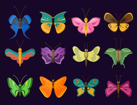 mariposas amarillas: Mariposas de colores vector de recogida estilo plano. Conjunto de la mariposa del vector. Mariposa colorida tipos diferentes. Silueta de la mariposa aislada en el fondo oscuro. Mariposa azul, mariposa colorida