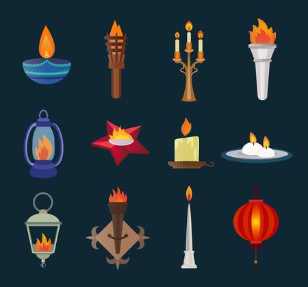 llamas de fuego: Velas estilo plano y la recogida de vectores llamas. Velas vector silueta aislados sobre fondo blanco. Llama Wall, la llama de la memoria de la estrella, llama de la lámpara de la calle, el festival de Diwali de la vela. Iconos del vector de la vela
