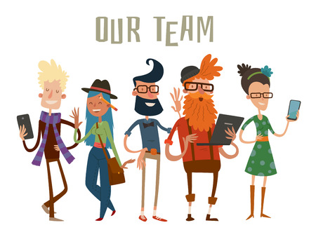 command: Business team people website profile about page. Landing page team command people isolated. Design studio people. designers, creative job people, art-director, accounter, boss, team leader. Landing page group portrait