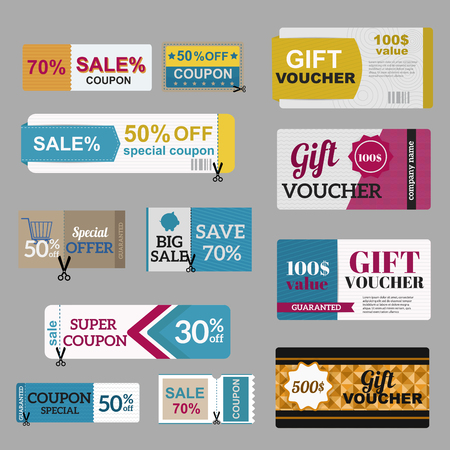 coupon: Vector illustration of gift voucher template collection.  Voucher tickets, voucher sale coupon, voucher gift, voucher vector, voucher isolated. Cutline voucher vector symbols. Voucher coupon icons Illustration