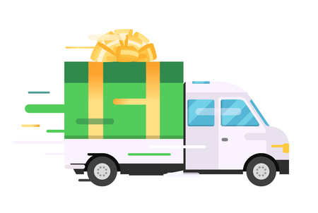 Delivery vector transport truck, van with gift box pack. Delivery service van, delivery truck, gift box. Wedding box, birthday box. Product goods shipping transport. Fast delivery gift box with bow, ribbon