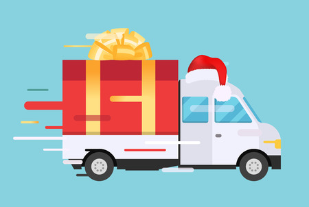 vehicle: Delivery vector transport truck, van with gift box pack. Delivery service van, delivery truck, gift box. Wedding box, birthday box. Product goods shipping transport. Fast delivery gift box with bow, ribbon