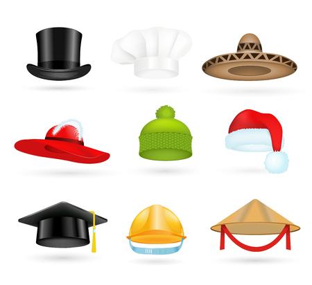 graduacion caricatura: Conjunto de sombreros de copa 3d diferentes profesiones. Sombreros de copa de la historieta. Gorra de béisbol, sombrero de cocinero, sombrero de chef, sombrero de santa. Sombrero iconos conjunto de vectores. Sombreros aislados silueta. Otoño, sombrero del invierno, sombrero trabajador, sombrero de la graduación