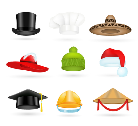 Set of 3d top hats different professions. Cartoon top hats. Baseball cap, cook hat, chef hat, santa hat. Hat icons vector set. Hats isolated silhouette. Autumn, winter hat, worker hat, graduation hat Illustration