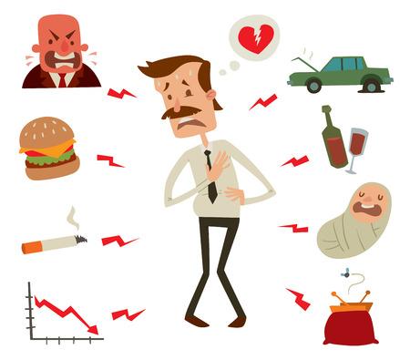 Problemas del corazón para hombre. Los factores de riesgo del corazón del hombre de negocios. Mens infarto infarto cardíaco estrés. Ataque al corazón ilustración vectorial. Niños, el humo, las bebidas y el alcohol, los alimentos perjudiciales rápido, hombre de negocios crisis Ilustración de vector