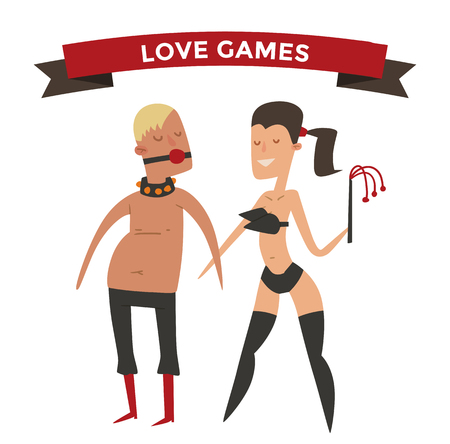 nude young: Sadism woman and man cartoon vector illsutration. Free love people relations, free lovers relationships. People special love uniform. Latex man and woman people couple family together. Free love concept