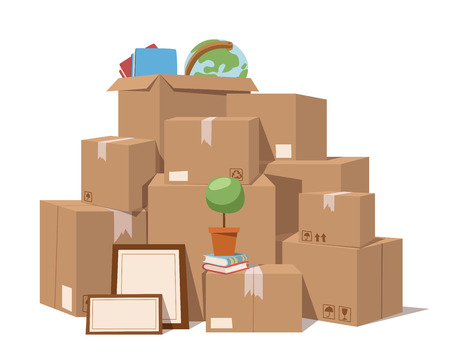 Verplaats dienst doos vol vector illustratie. Verplaats doos. Ambachtelijke vak geïsoleerd op een achtergrond. Box voor het verplaatsen, open doos. Verplaats zaken, bewegende doos, verhuizing doos. Vervoer pakket vrachtdienst