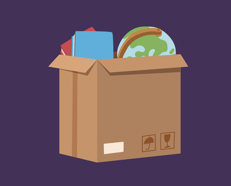 moving office: Move service box full vector illustration. Move box business. Craft box isolated on background. Box for moving, open box. Move business, moving box, relocation box. Transportation package cargo service