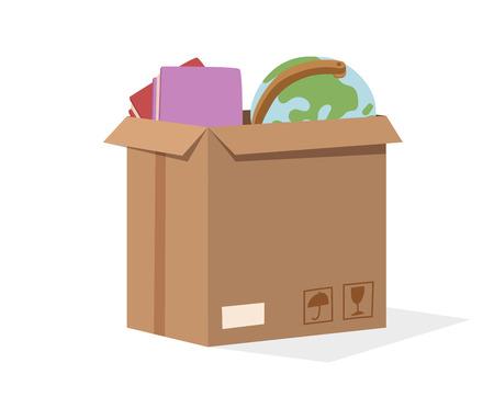Verplaats dienst doos vol vector illustratie. Verplaats doos. Ambachtelijke vak geïsoleerd op een achtergrond. Box voor het verplaatsen, open doos. Verplaats zaken, bewegende doos, verhuizing doos. Vervoer pakket vrachtdienst Stock Illustratie
