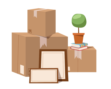 post box: Move service box full vector illustration. Move box business. Craft box isolated on background. Box for moving, open box. Move business, moving box, relocation box. Transportation package cargo service
