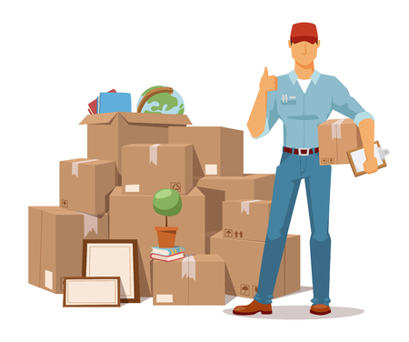 Move service man Ok hand and box vector illustration. Move box and men. Craft box isolated on background. Box for moving, open box. Move business, moving box, relocation box open. Transportation package cargo service Vettoriali