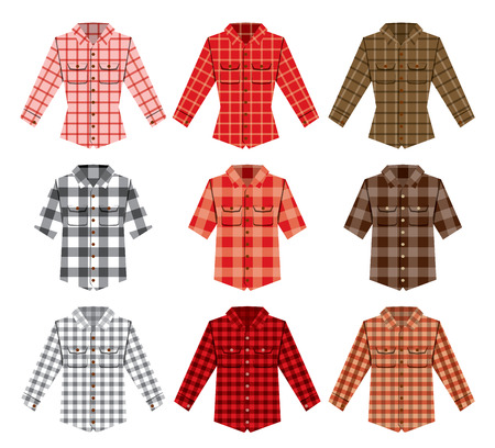 camisa: camisa a cuadros de leñador los modelos del vector de la moda leñador viejos. Rojo, negro, blanco cheque camisa de leñador chapado a la antigua. inconformista de moda camisa de leñador vectorial. Moda leñador textura del paño. patrón de leñador
