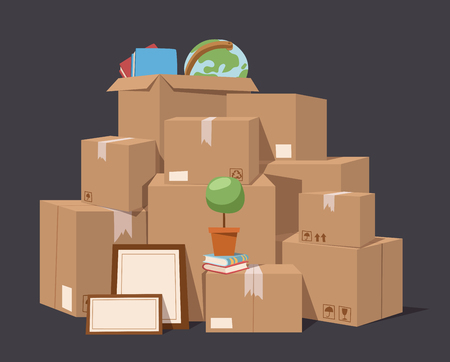 cardboard: Move service box full vector illustration. Move box business. Craft box isolated on background. Box for moving, open box. Move business, moving box, relocation box. Transportation package cargo service