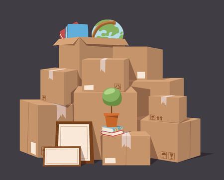 cajas de carton: Mover caja de servicio completo ilustraci�n vectorial. Mueva cuadro de negocio. Cuadro de artesan�a aislado en el fondo. Caja para moverse, caja abierta. Mueva negocio, caja m�vil, caja de reubicaci�n. Transporte paquete de servicios de carga