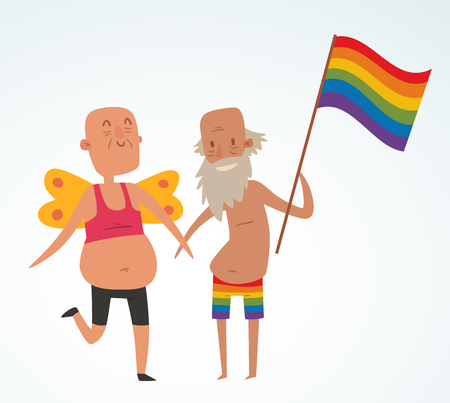 homosexual sex: Homosexual gay people couple vector. Homosexual marriage man couples. Gay family couple. Gay family vector illustration. Homosexual couples colors free love. Gay parade. Gay flag