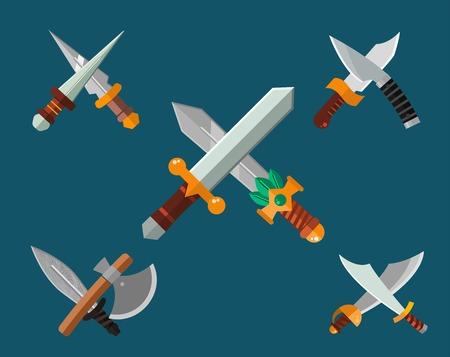 cuchillo: colección de armas cuchillos. ilustración espadas, cuchillos, hacha, lanza. establece arma armas blancas. cuchillo, el cuchillo aislado, cuchillos silueta. arma del juego knifes establecido. icono de cuchillo