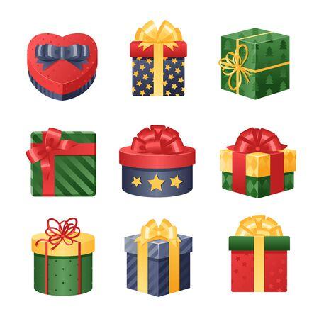 화려한 3D 선물 상자, 리본 및 리본 설정합니다. 선물 상자 그림입니다. 크리스마스 선물 상자. 크리스마스 상자 화이트에 격리입니다. 크리스마스가 생
