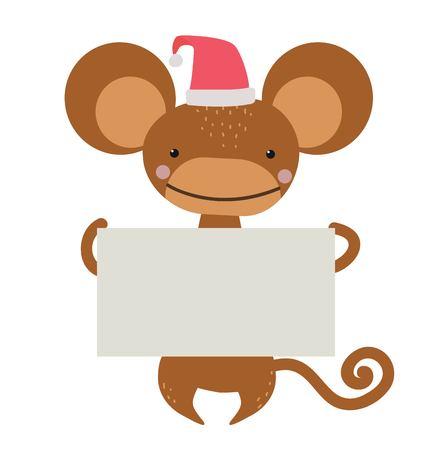 mono caricatura: A�o Nuevo mono de dibujos animados de Navidad sombrero de Santa que sostiene la bandera. Mono salvaje de dibujos animados. Mono mono de Navidad. Mono de dibujos animados. simio que sostiene la bandera. Mono 2016