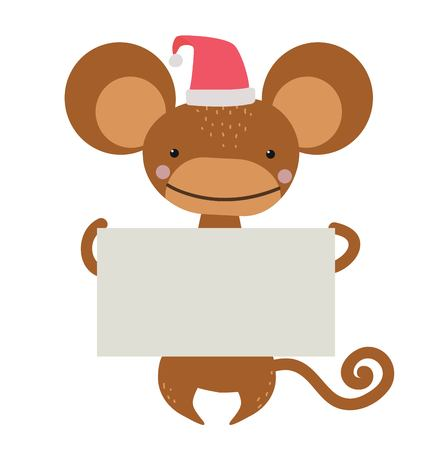monkey cartoon: New Year Christmas cartoon monkey Santa hat holding banner. Wild cartoon monkey. Christmas ape monkey. Monkey cartoon illustration. ape holding banner. Monkey 2016