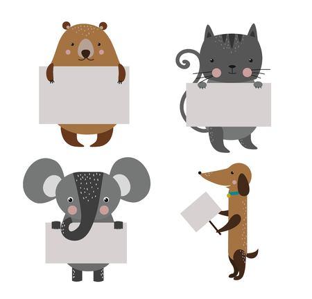 animal: 野生動物園卡通旗幟設置。野生動物。叢林動物寵物。動物。熊和狗,貓,大象。海洋,森林裡的動物拿著旗幟。動物。動物隔離 向量圖像