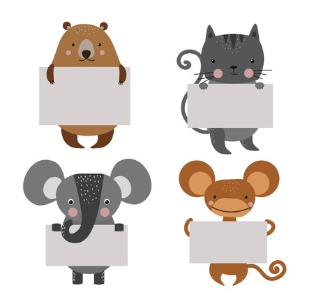 animales de la selva: Wild animal zoo banner cartoon set. Wild animals. Jungle animals pets. animals. Monkey and cat, bear, lion. Sea, forest animals holding banner. animals. Animals isolated Vectores