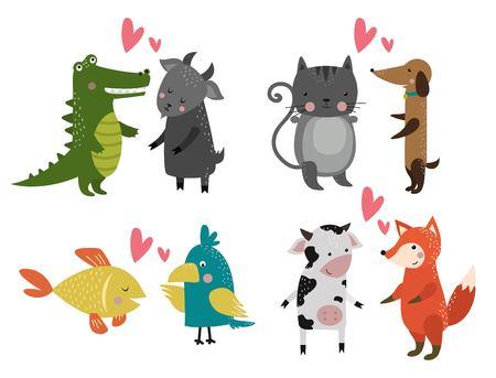 dieren: Wild dier dierentuin cartoon set. Wilde dieren. Jungle dieren huisdieren. dieren. Fox en leeuw. Aap, kat en hond, olifant, krokodil. Fish and beer, papegaai, koe, geit. Zee, dieren in het bos Stock Illustratie