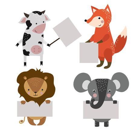 animal: 野生動物園卡通旗幟設置。野生動物。叢林動物寵物。動物。猴子和牛,狐狸,獅子。海洋,森林裡的動物拿著旗幟。動物。動物隔離 向量圖像