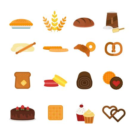whole wheat bread: fresh baked bread products icons isolated on white background. Bread icons isolated. Bakery food meal. Bread isolated. Bread. Bread icons on white.  Bakery sweets, bread, donuts. Bread products Illustration
