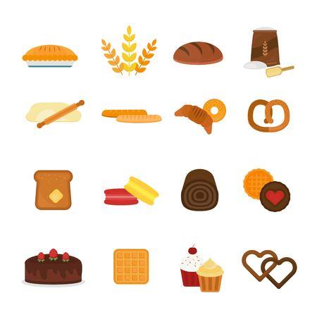 tranches de pain: Produits frais de pain cuit icônes isolé sur fond blanc. Icônes de pain isolés. Bakery repas des aliments. Pain isolé. Pain. Icônes de pain blanc. Bonbons de boulangerie, pain, beignets. Produits de panification