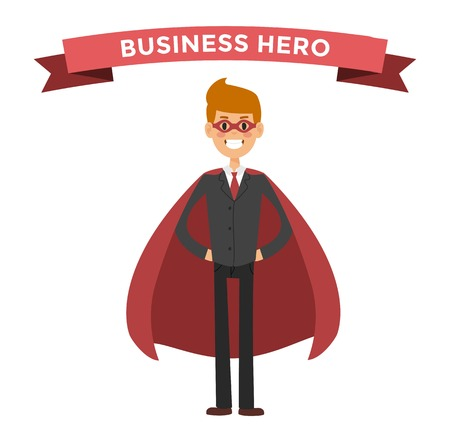 hero: hero business man . Super people in business illustration. hero business situations, hero office life. hero flying, business success people. Team leader, boss, hero Illustration