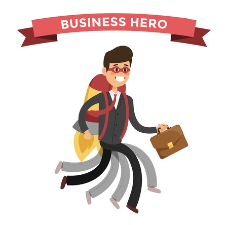 hero: hero business man . Super people in business illustration.  hero business situations, hero office life. hero flying, business success people. Team leader, boss, hero