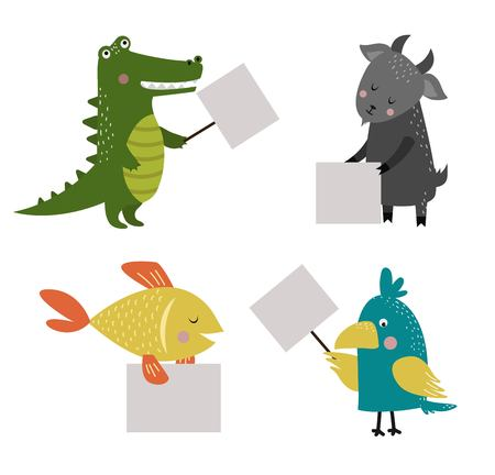sea goat: Wild animal zoo banner cartoon set. Wild animals. Jungle animals pets. animals. Fish and Crocodile, parrot, goat. Sea, forest animals holding banner. animals. Animals isolated