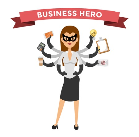 hero business woman . Super people in business illustration. hero business situations, super girl hero office life. hero flying, business success people. Team leader, boss, hero Vettoriali