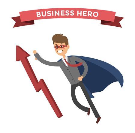 lider: hombre de negocios del héroe. personas en la ilustración de negocios. situaciones de negocios héroe, héroe de vida de la oficina. vuelo héroe, la gente del éxito del negocio. El líder del equipo, jefe, héroe Vectores