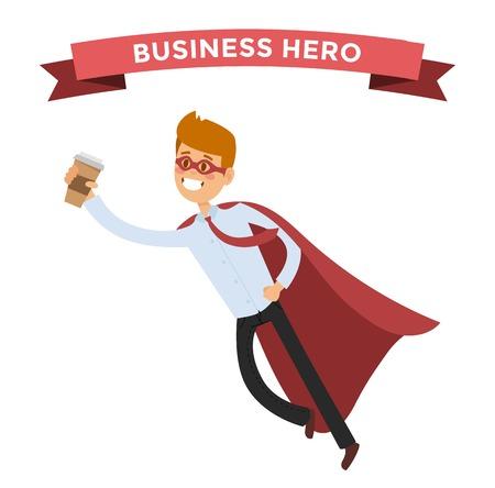 held zakenman. mensen in zaken illustratie. held zakelijke situaties, held kantoor life.hero vliegen, zakelijk succes mensen. Teamleider, werkgever, held