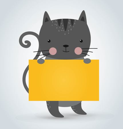 animal character: Cat pet animal holding clean welcome yellow board banner cartoon. Pets kitty. Home pets gray cat. Cat cartoon illustration. cat holding white sale board. Cat holding yellow text board Illustration