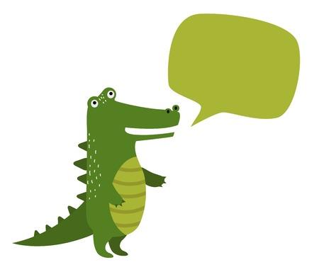 cartoon crocodile: cartoon crocodile with green bubble box. Wild crocodile. Jungle green crocodile. Wild crocodile silhouette. animals. Crocodile holding board. animals Illustration
