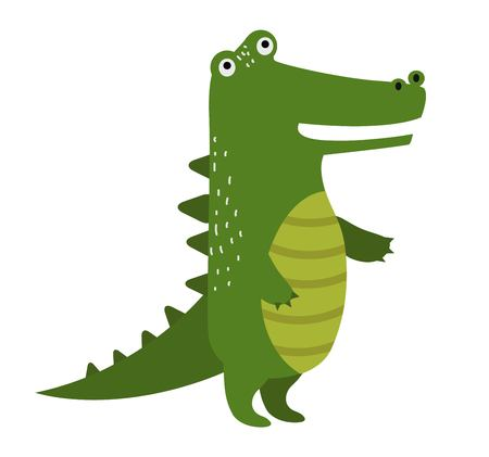 alligator: cartoon cute crocodile isolated on white background. Wild crocodile. Jungle green crocodile. Wild crocodile silhouette. animals. Crocodile character. animals