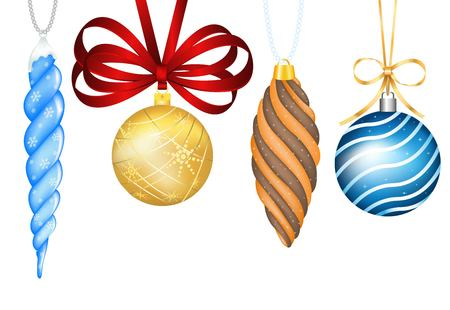 Palle giocattoli di Natale d'epoca. Colorful Capodanno decorazione albero giocattoli isolati. giocattoli albero di Natale, palla di Natale. Decorazioni di Natale biglietto di auguri, nastro rosso, fiocco decorazione di Natale Archivio Fotografico - 48417354