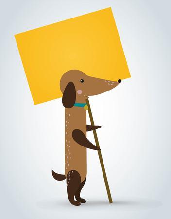 Dog pet animal holding clean sale plate board cartoon. Pets dog. Home pets dachshund dog. Dachshund dog cartoon illustration. dog holding white sale board. Dog holding sale text Illustration
