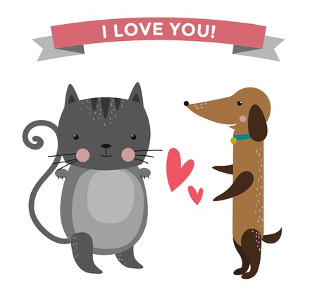 puppy love: Cute cartoon animals couples fall in love illustration. animals wedding. Different animals like people love togetherness concept. animals, pets, wild. Cat, dog , heart, love, together