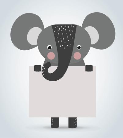 elefant: Elephant Wild Cartoon Tier sauber willkommen Bord. Haustiere Elefanten. Wilde Tiere Elefanten. Elephant Zoo Cartoon-Illustration. Elefanten h�lt wei�e Tafel. Elephant Zoo Illustration