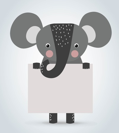 Elephant Wild Cartoon Tier sauber willkommen Bord. Haustiere Elefanten. Wilde Tiere Elefanten. Elephant Zoo Cartoon-Illustration. Elefanten hält weiße Tafel. Elephant Zoo Standard-Bild - 48417370