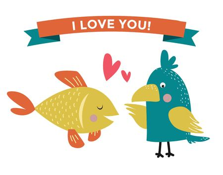 fall in love: Cute cartoon animals couples fall in love illustration. animals wedding. Different animals like people love togetherness concept. animals, pets, wild. Parrot, fish , heart, love, together Illustration