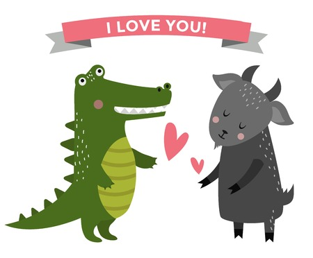 fall in love: Cute cartoon animals couples fall in love  illustration. animals wedding. Different animals like people love togetherness concept. animals, pets, wild. Crocodile, goat, heart, love, together