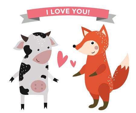 Cute cartoon animals couples fall in love  illustration. animals wedding. Different animals like people love togetherness concept. animals, pets, wild. Cow, fox, heart, love, together