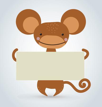 platano caricatura: Mono Mono de la historieta que sostiene la bandera blanca y limpia. Mono salvaje de dibujos animados. Mono mono de Navidad. Mono de dibujos animados. simio que sostiene la bandera. Mono aislado. Mono . De dibujos animados mono Vectores