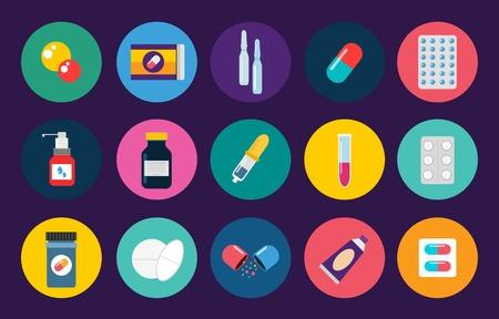 pastillas: Píldoras cápsulas fijadas iconos plana. Médico vitamina píldoras de la farmacia ilustración. Píldoras, cápsulas, las drogas, la caja y la botella. Pastillas botella caja. Píldoras aisladas iconos. Iconos médicos