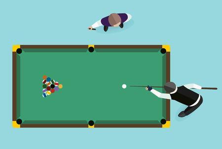 billiards table: Billiards flat illustration. Billiards  pool game accessories. Billiards club, billiards table and billiards players. Billiard pool game balls icons set illustration. Billiards game