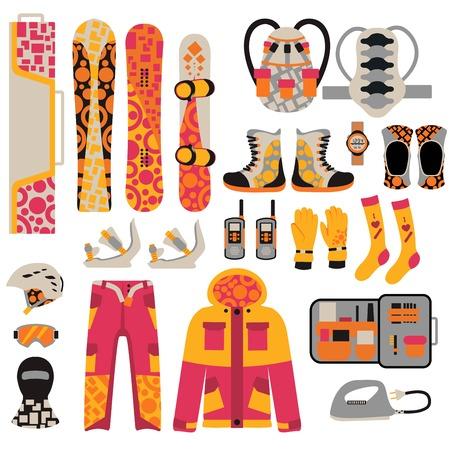 ropa de invierno: Snowboard ropa deportiva y elementos de herramientas. snowboard elementos aislados sobre fondo blanco. paño de tabla de snowboard, chaqueta de snowboard, tabla de snowboard. equipo de deportes de invierno Snowboard